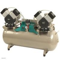 EKOM DK50 2x2V/110 - безмасляный компрессор без шкафа, без осушителя, для четырех стоматологических установок (280 л/мин, 5 – 7 бар)